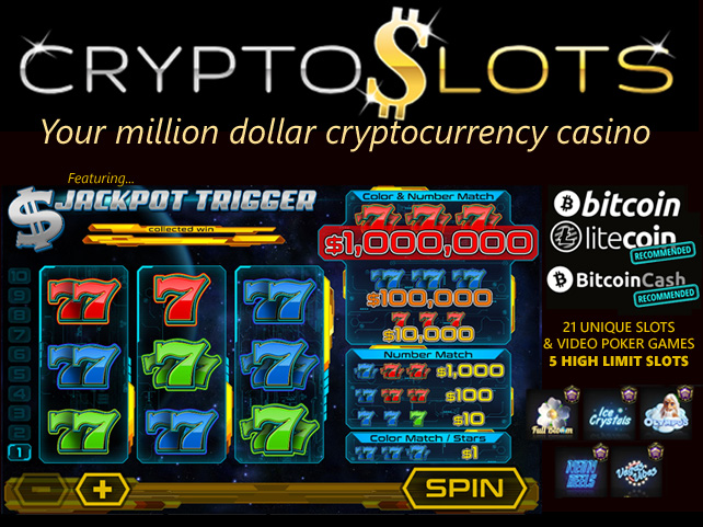 CryptoSlots Crypto-only Casino features $1,000,000 Jackpot Slot
