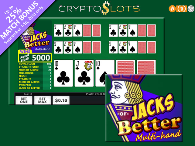 Cryptocurrency Casino Welcomes New Jacks or Better Multi-Hand