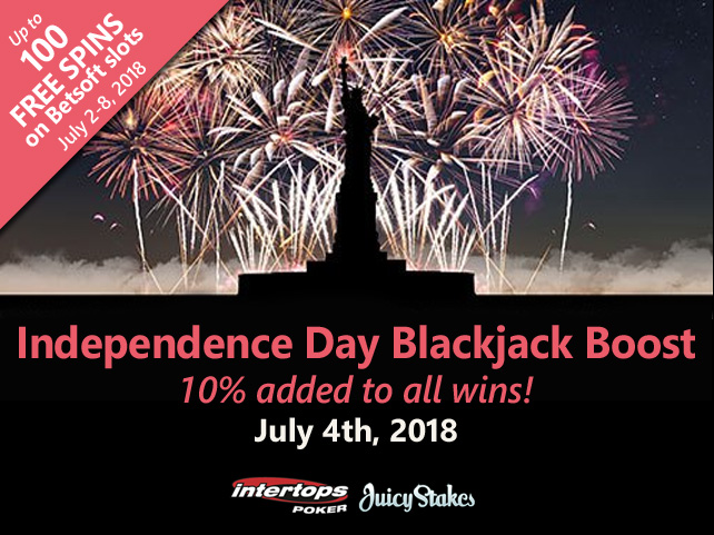 Celebrate the 4th with Independence Day Blackjack Boost & Free Spins Weekend