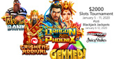 $2000 New Year's Slots Tournament $500 Blackjack Bonuses