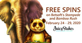 Juicy Stakes Casino Giving Free Spins on Stampede and Bamboo Rush from Betsoft