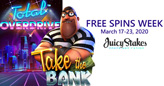 Total Overdrive and Take the Bank: New Betsoft Games featured during Free Spins Week at Juicy Stakes