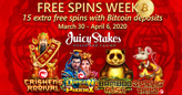 During Free Spins Week, Juicy Stakes Giving Extra Free Spins for Bitcoin Deposits