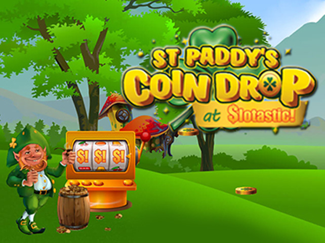 St Paddy's Coin Drop Casino Bonus Game at Slotastic Casino Awards up to 232 Free Spins
