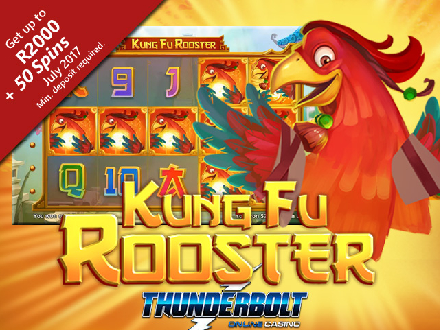 Kung Fu Rooster flying into Thunderbolt Online Casino
