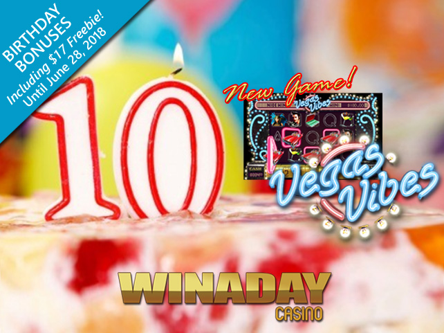 WinADay Celebrates 10th Birthday with $17 Freebie and New Game